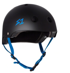 S1 LIFER HELMET - Black Matte with Cyan Straps