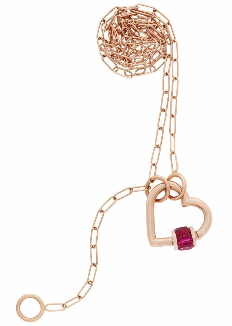 3 Loop Rose Gold Square Link Chain with Rose Gold Total Baguette Baby Heartlock with Ruby