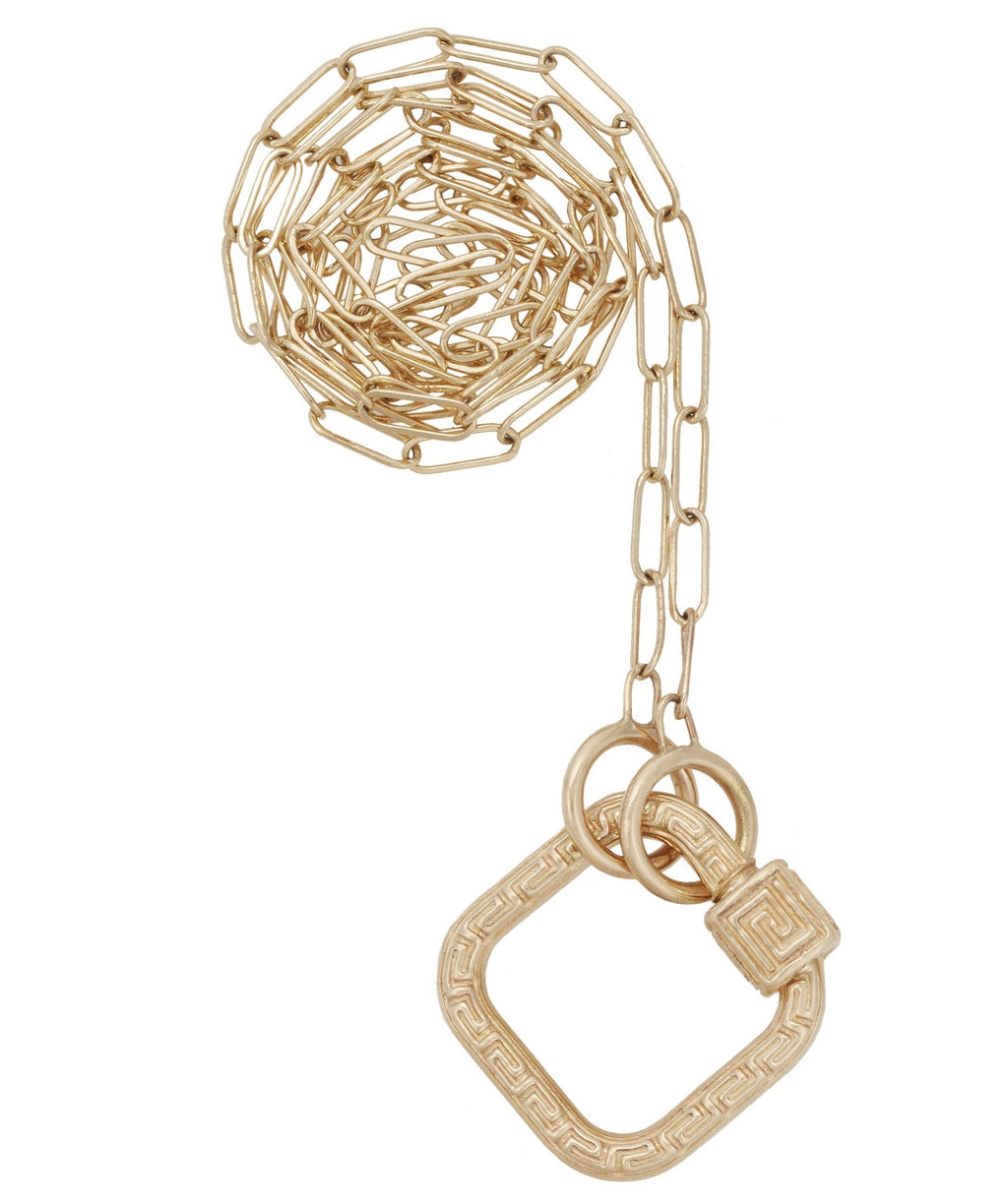 Yellow Gold Baby Meander Lock on a Square Link Chain