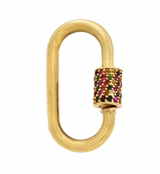 Yellow Gold Medium Stoned Lock with Harlequin Stones (Mixed Stones)