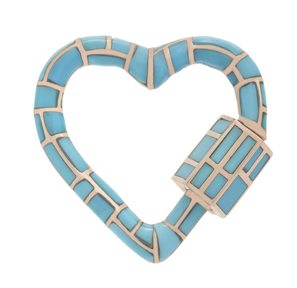 18K Rose Gold All Inlay Linda Heartlock with Turquoise