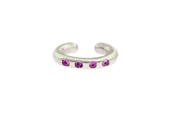 Sterling Silver Cuffling® Series Earcuffs with Pink Sapphire