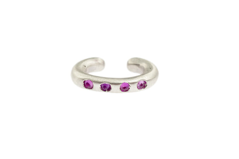 Sterling Silver Cuffling™ Series Earcuffs with Pink Sapphire