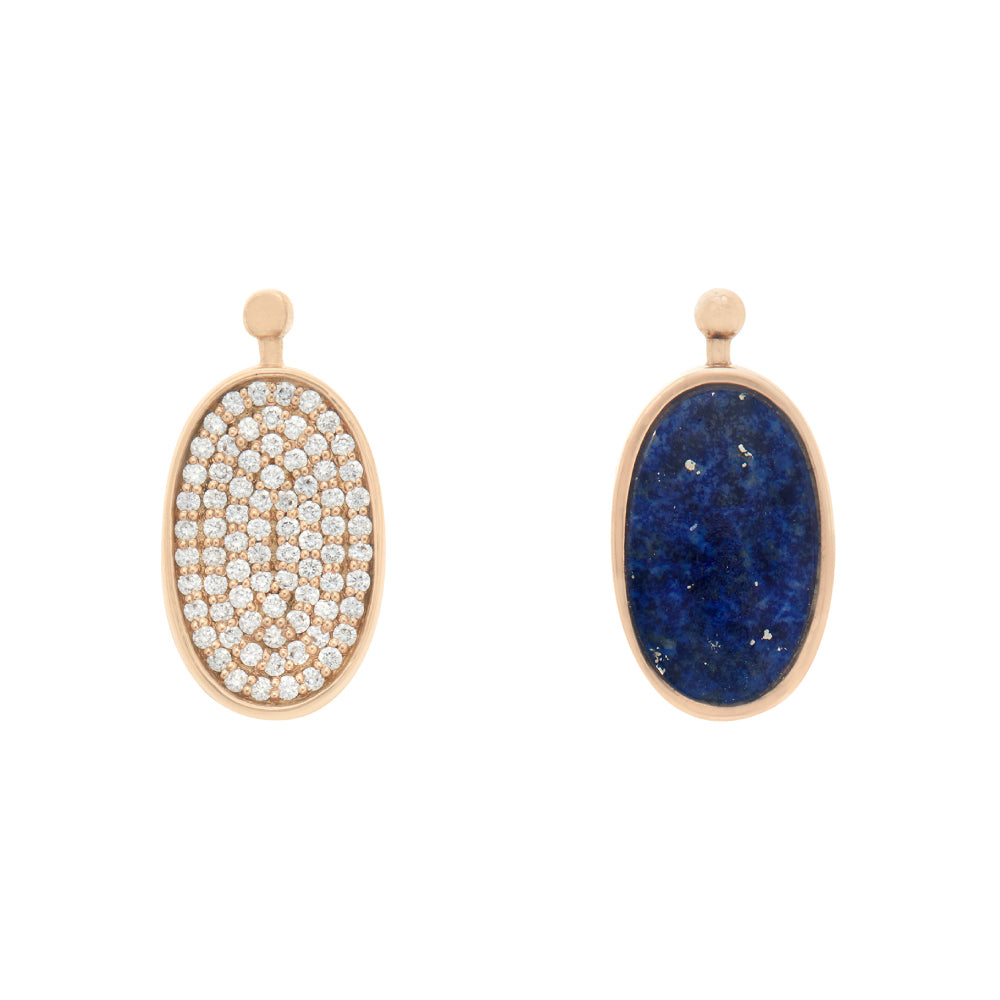 18k Oval Lozenge with Lapis and Pave Diamond