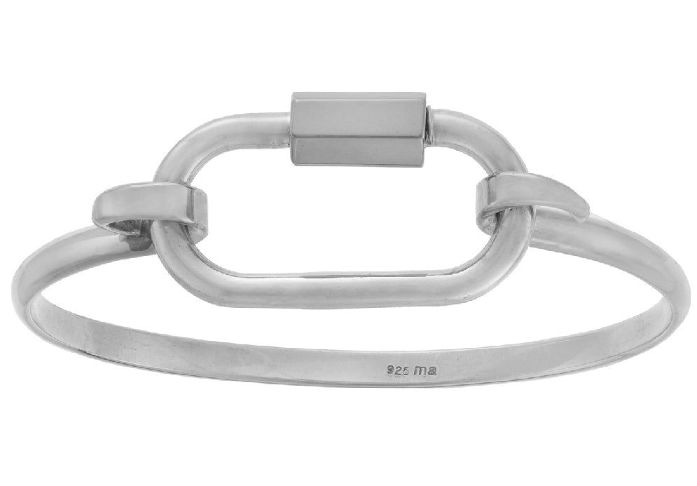 Silver Regular Lock on a Silver Hard Hook Bracelet