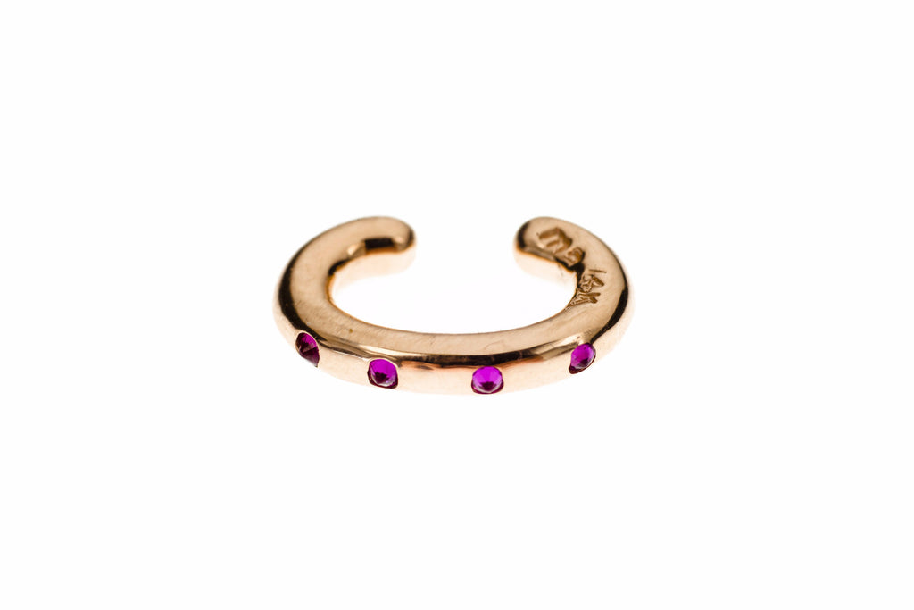Rose Gold Cuffling® Series Earcuffs with Pink Sapphire