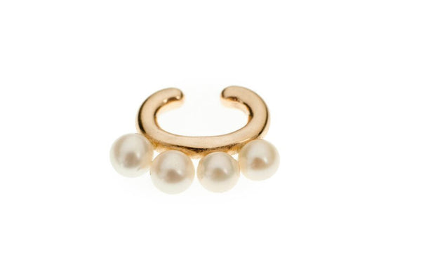 Yellow Gold Cuffling® Series Earcuffs with Pearl
