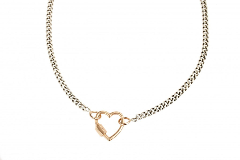 Rose Gold Heartlock on Heavy Curb Chain