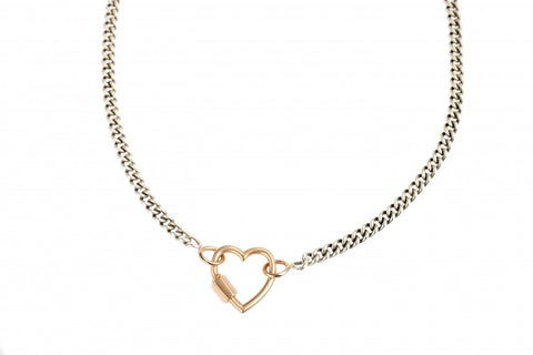 Rose Gold Heart Lock on Heavy Curb Chain in Silver and Rose Gold