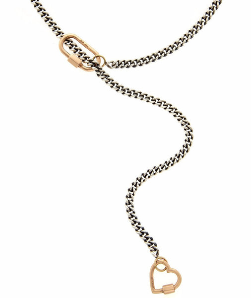 Heavy Curb Lariat with Yellow Gold Medium Lock and Yellow Gold Baby Heartlock