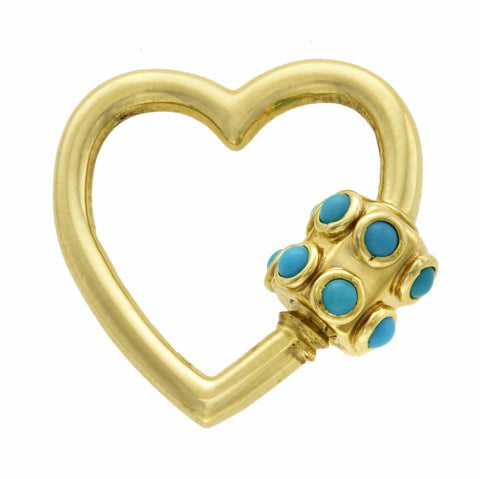 Green Gold Stoned Heart Lock with Turquoise