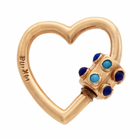 Rose Gold Stoned Heart Lock with Turquoise and Lapis
