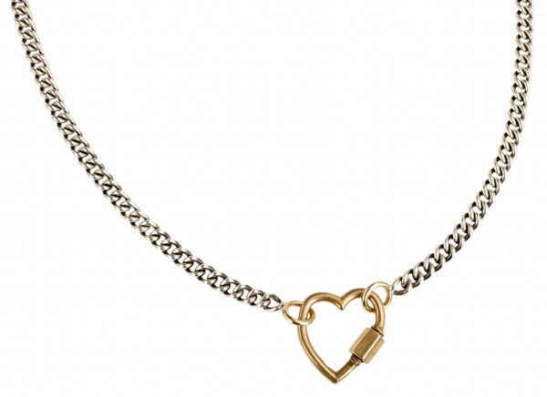 Yellow gold heartlock on heavy curb chain in silver and yellow gold