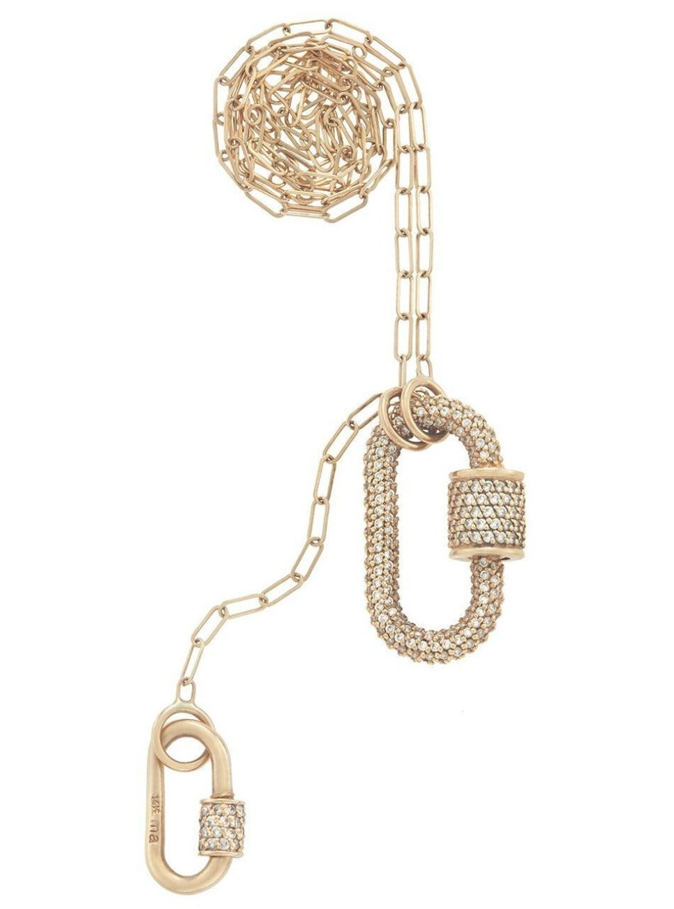 All Stone Diamond Lock 3 Loop Necklace with Diamond Stoned Babylock