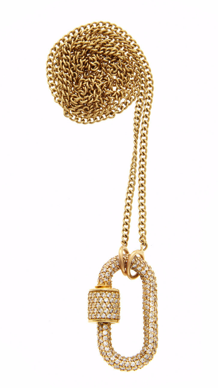 "All Stone Lock with Diamonds on 18"" Yellow Gold Medium Curb Chain"