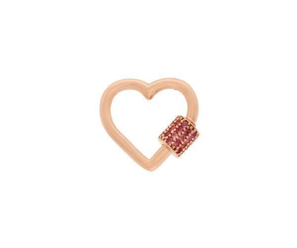 Rose Gold Stoned Baby Heart Lock with Pink Tourmalines