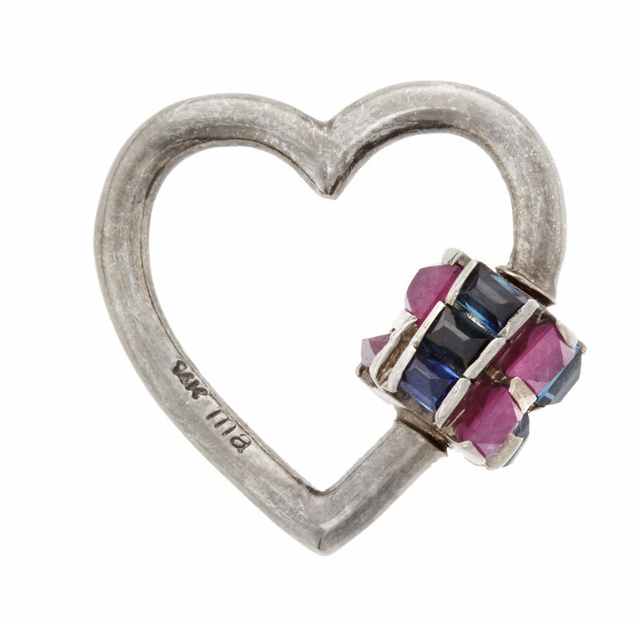 Blackened White Gold Heart with Baguette Ruby and Blue Sapphire