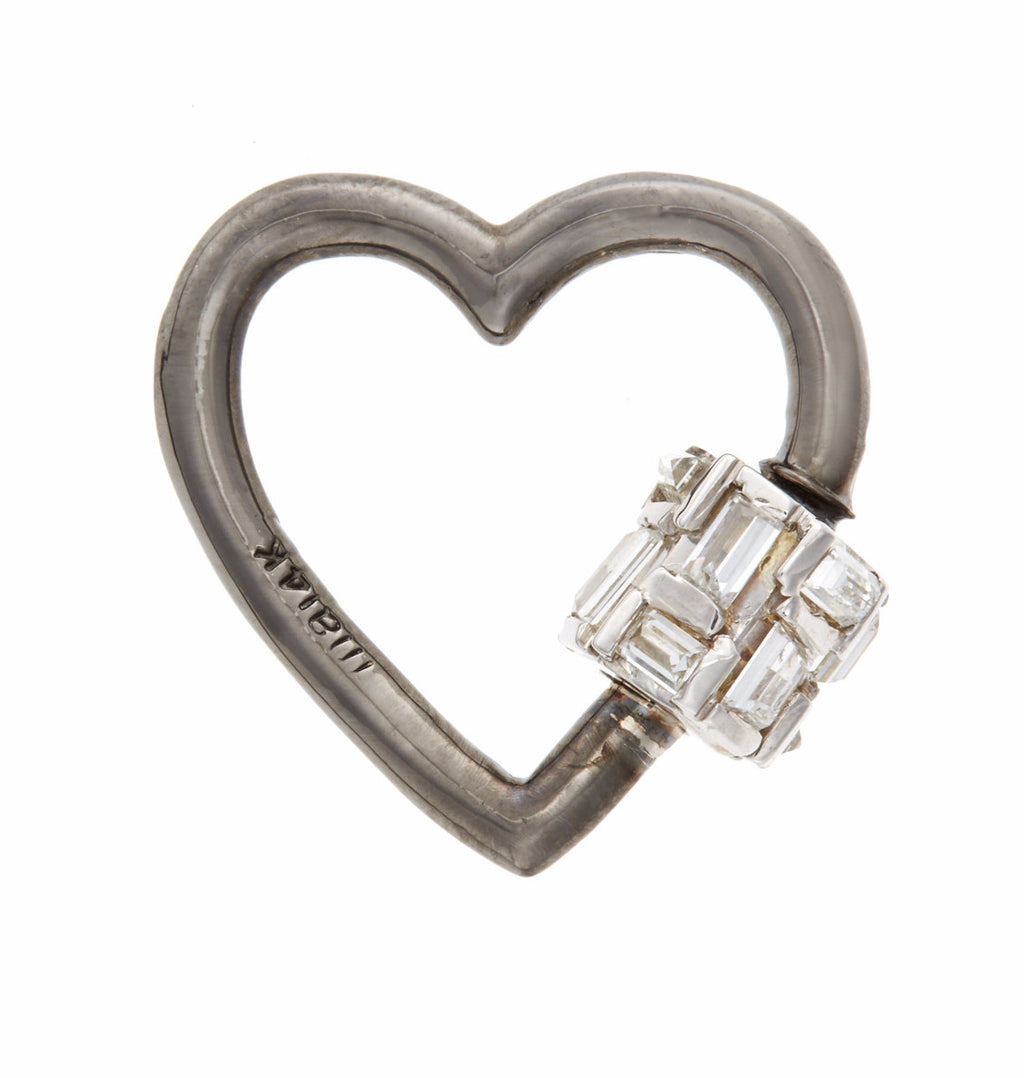 Blackened White Gold Heart with Baguette Diamonds