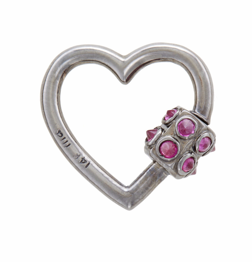 Blackened White Gold Heart with Inverted Ruby