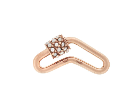 Rose Gold Stoned Boomerang Lock with Pearls