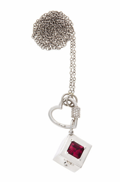 "White Gold Stoned Box with a Platinum Diamond Stoned Baby Heart on a 22"" Platinum Chain"