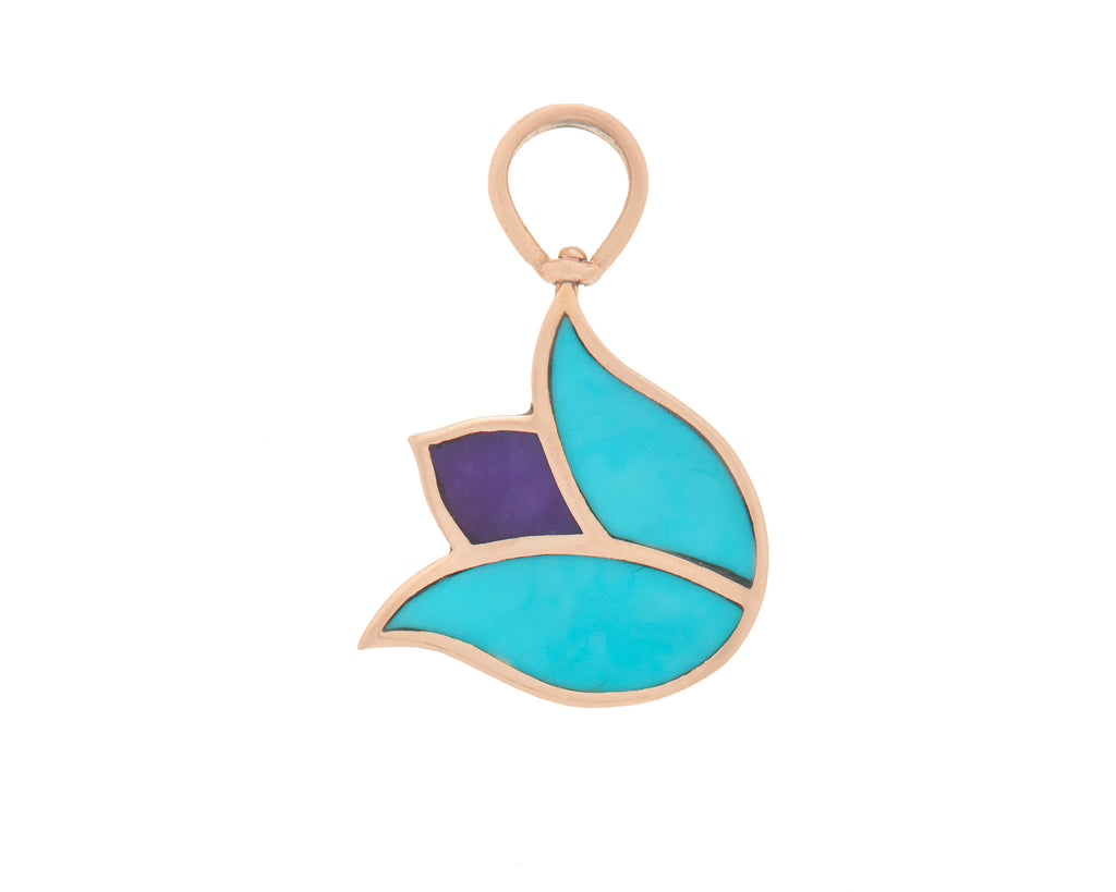 Tulip Charm with Turquoise and Charoite