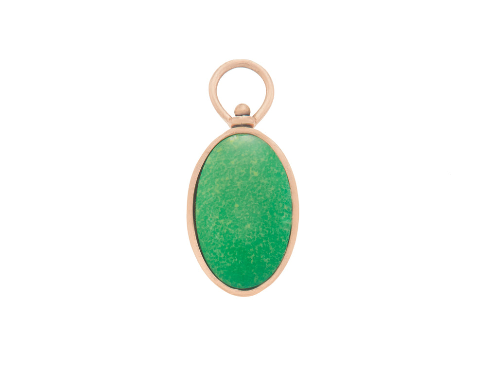 Small Oval Charm with Green Turquoise