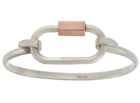 Silver and Rose Gold Regular Lock on a Silver Hard Hook Bracelet