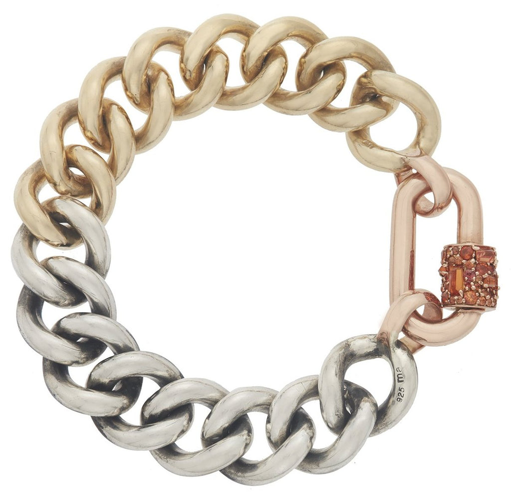 Rose Gold Stoned Chubby Medium Lock on a Half and Half Mega Curb Bracelet