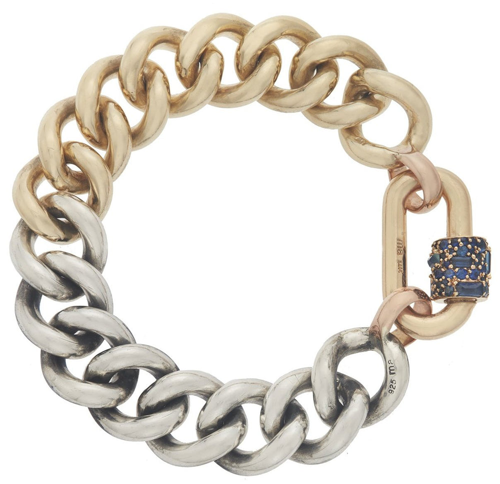 Yellow Gold Stoned Chubby Medium Lock on a Half and Half Mega Curb Bracelet