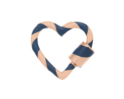 Rose Gold Heart Lock with Navy Enamel