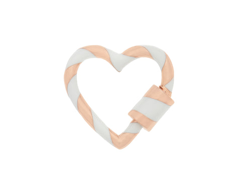 Rose Gold Heart Lock with White Enamel