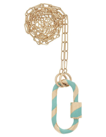 Yellow Gold Medium Lock with Turquoise Enamel on a Square Link Chain
