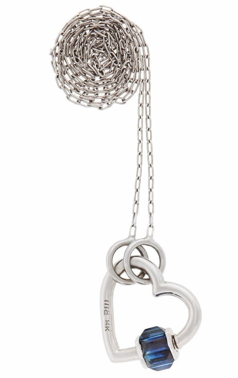 "White Gold Total Baguette Baby Heartlock w Blue Sapphires on a 16"" White Gold Fine Square Link Chain"