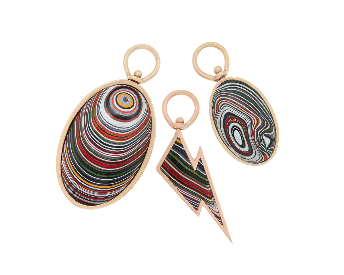 Lightning Bolt Charm with Fordite