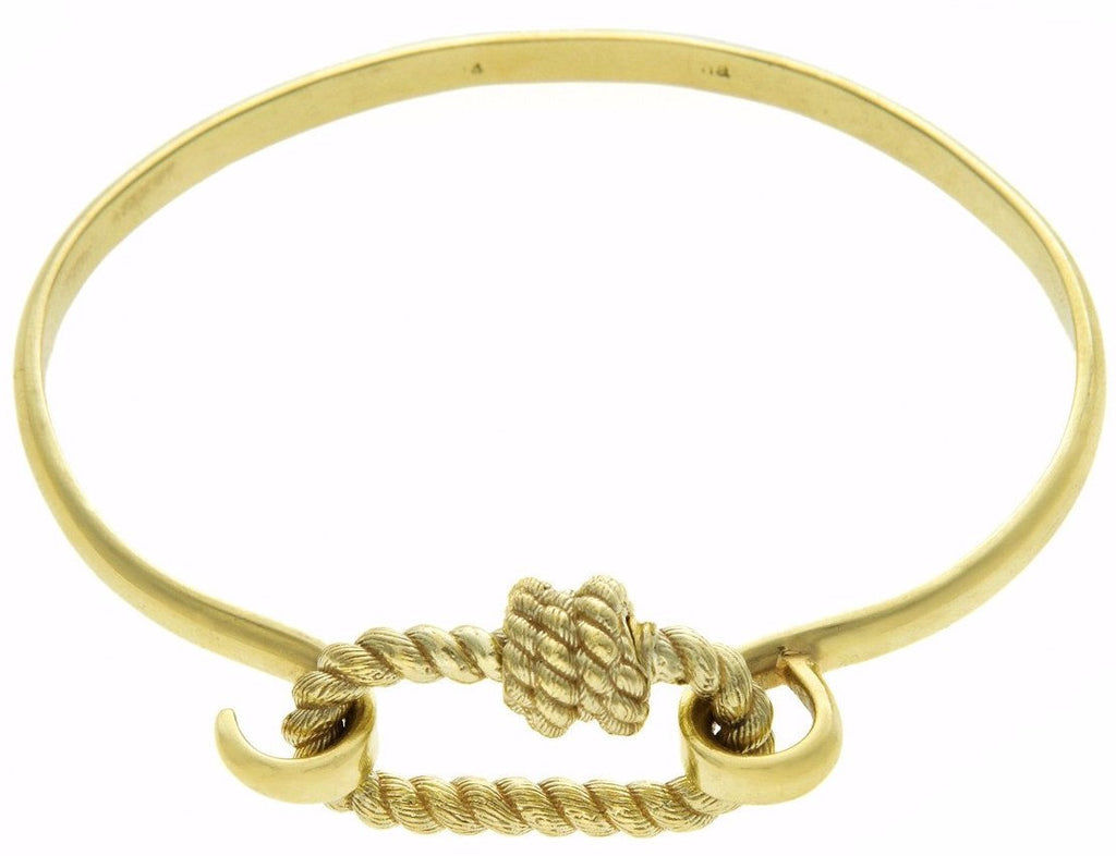 Green Gold Twisted Series Lock on a Green Gold Hard Hook Bracelet