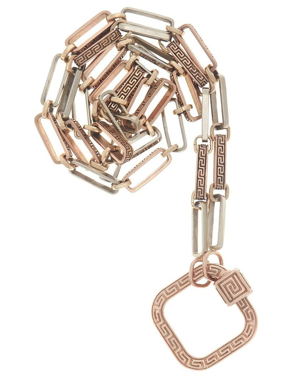 Rose Gold Meander Lock on Mixed Meander Chain