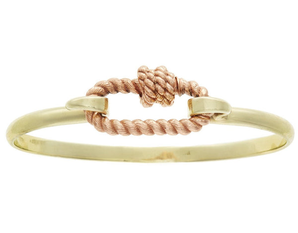 Rose Gold Twisted Series Lock on a Green Gold Hard Hook Bracelet