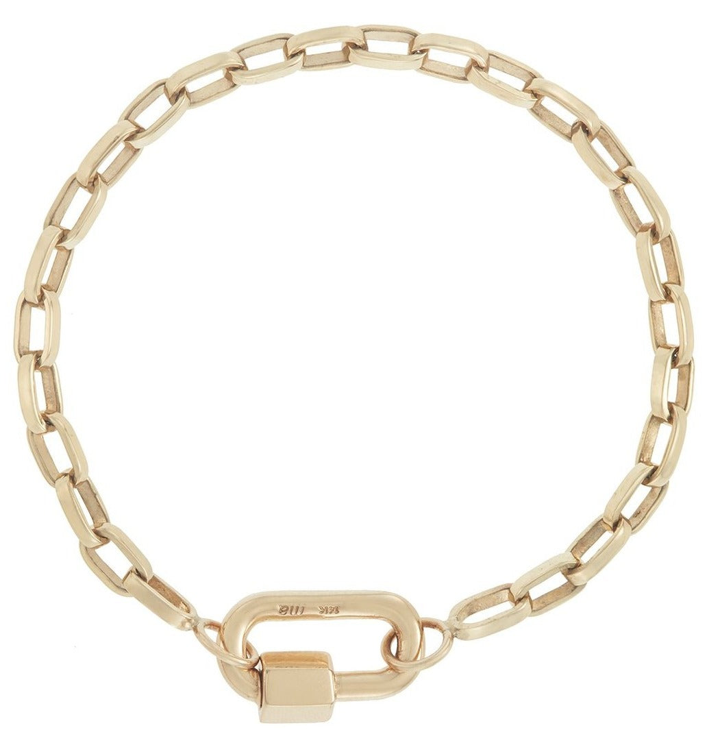 Yellow Gold Chubby Babylock Biker Chain Bracelet
