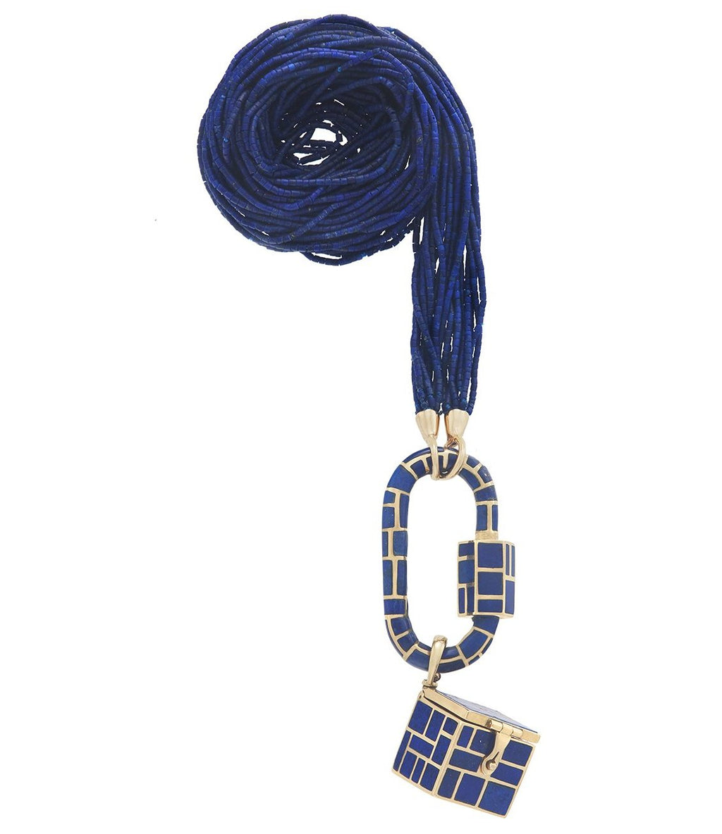 Lapis Inlay Lock and Charm Necklace