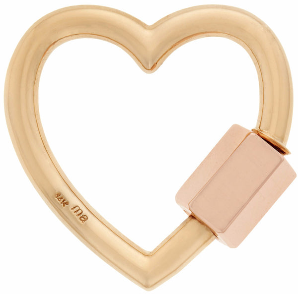 Large Heart Lock, Yellow and Rose Gold