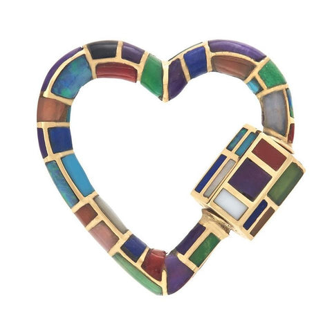 18k Yellow Gold All Inlay Linda Heart Lock