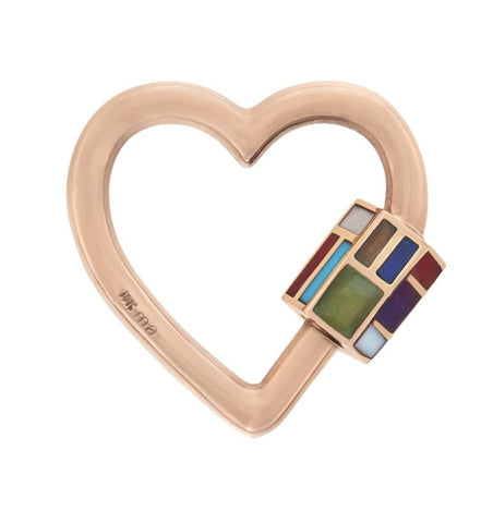 18K Rose Gold All Inlay Phyllis Heart Lock