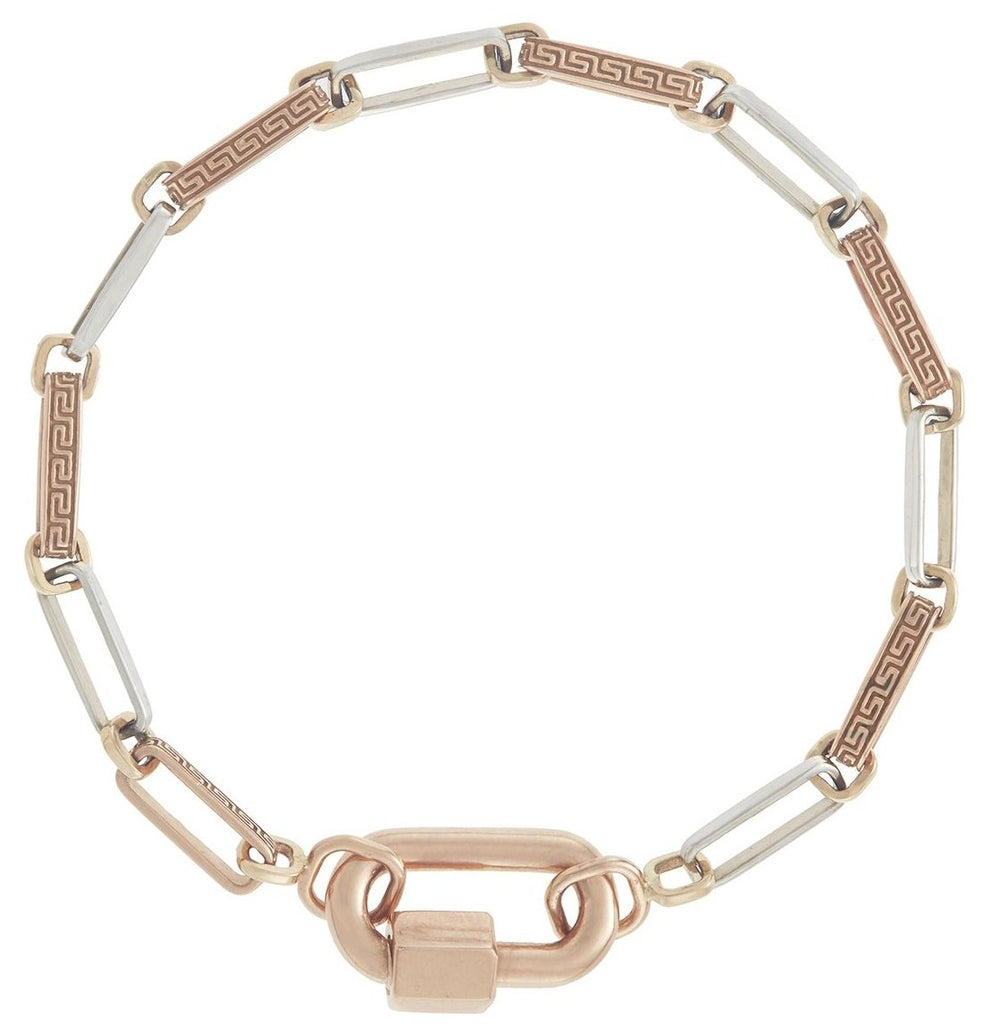Rose Gold Chubby Babylock and Meander Chain Bracelet