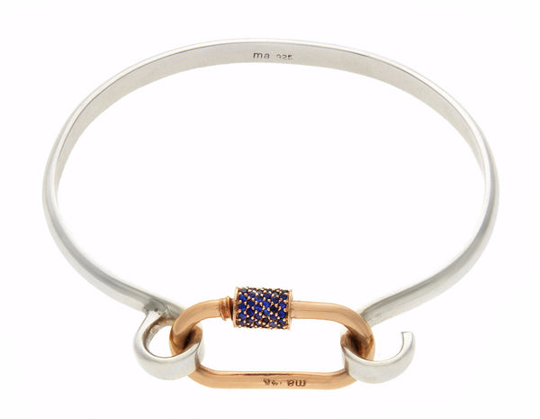 Rose Gold Medium Stoned Lock with Blue Sapphires on Sterling Silver Hard Hook Bracelet