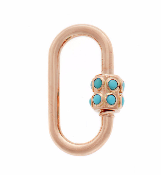 Rose Gold Medium Stoned Lock with Turquoise