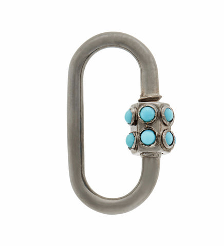Blackened White Gold Stoned Medium Lock with Turquoise
