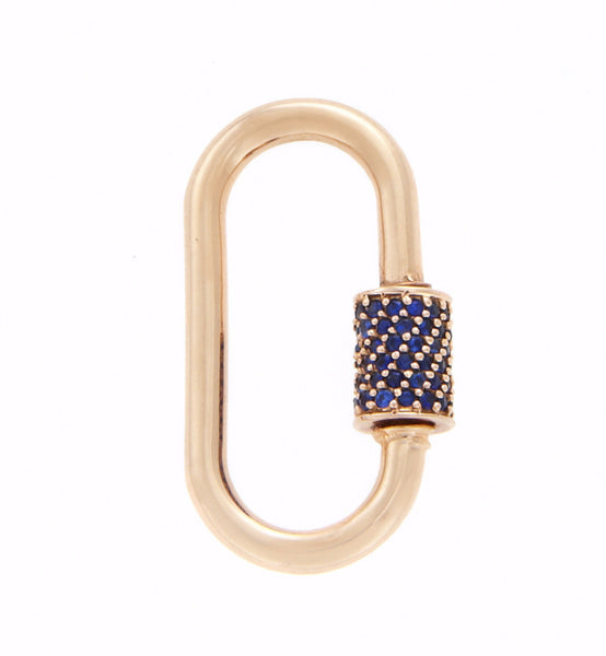 Rose Gold Medium Stoned Lock with Blue Sapphires