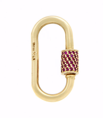 Yellow Gold Medium Stoned Lock with Ruby