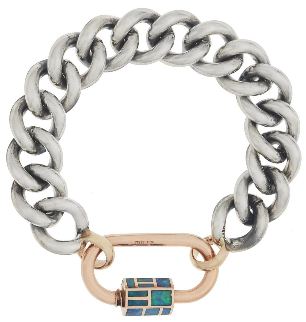 Phyllis Opal Inlay Lock and Mega Curb Bracelet